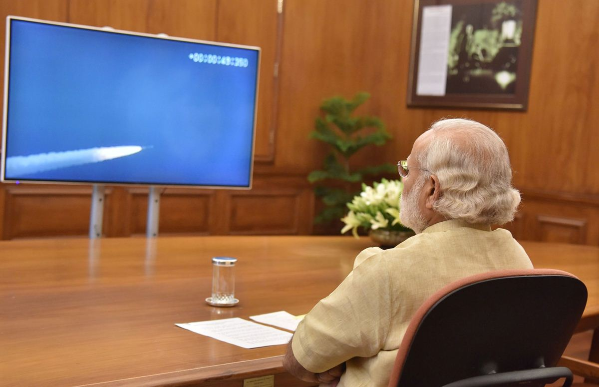 PM Narendra Modi Watching NAVIK Satellites Launch