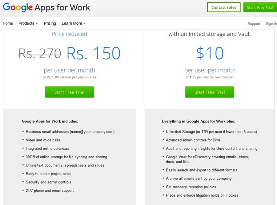 Gmail for Work Plan Price in India