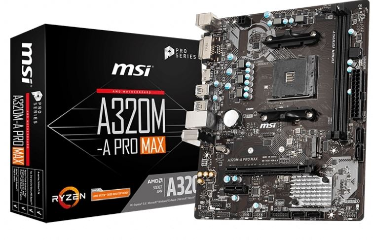 MSI A320M-A PRO MAX AMD Motherboard AM4 A320